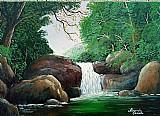 Quadro paisagem cachoeira